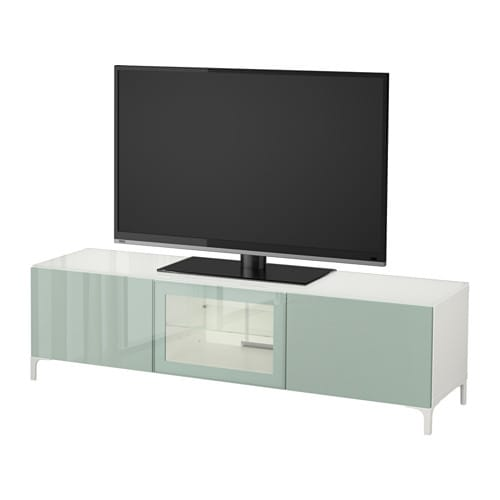 best banc tv avec portes blanc selsviken brillant gris. Black Bedroom Furniture Sets. Home Design Ideas