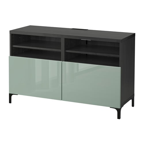 best banc tv avec portes brun noir selsviken brillant gris vert clair ikea. Black Bedroom Furniture Sets. Home Design Ideas