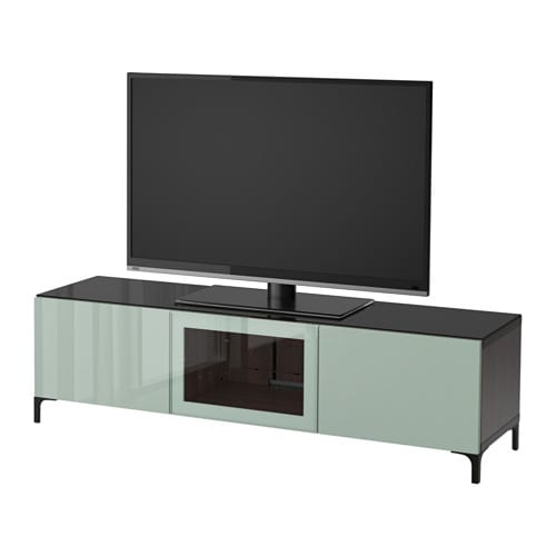 best banc tv avec portes brun noir selsviken brillant gris vert clair verre transparent. Black Bedroom Furniture Sets. Home Design Ideas