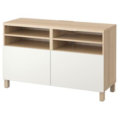 BESTÅ Banc TV avec portes, effet chêne blanchi/Lappviken/Stubbarp blanc, 120x42x74 cm