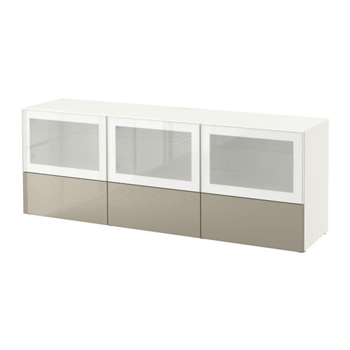 best banc tv avec portes et tiroirs blanc selsviken brillant beige verre givr glissi re. Black Bedroom Furniture Sets. Home Design Ideas