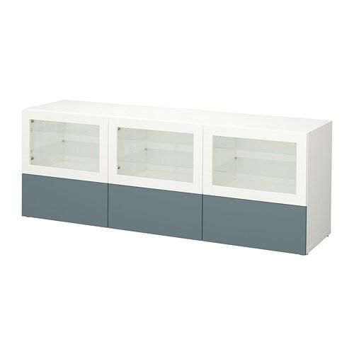 Besta Banc Tv Avec Portes Et Tiroirs Blanc Valviken Gris Turquoise