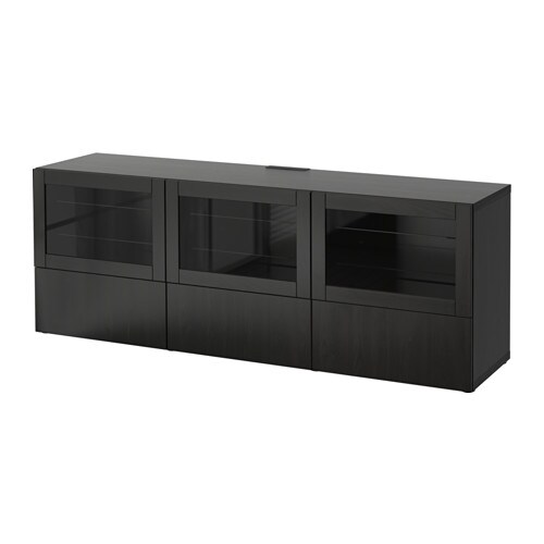best banc tv avec portes et tiroirs lappviken sindvik brun noir verre transparent glissi re. Black Bedroom Furniture Sets. Home Design Ideas