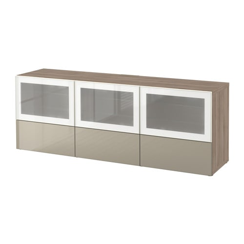 BESTÅ Banc TV avec portes et tiroirs  motif noyer teinté grisSelsviken bril -> Magasin Ikea Meuble Tv Marron