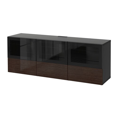 best banc tv avec portes et tiroirs brun noir selsviken brill brun verre transparent. Black Bedroom Furniture Sets. Home Design Ideas