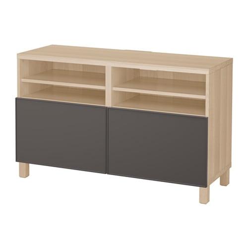 best banc tv avec portes effet ch ne blanchi grundsviken gris fonc ikea. Black Bedroom Furniture Sets. Home Design Ideas