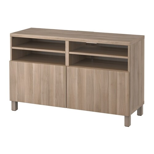 best banc tv avec portes lappviken motif noyer teint gris ikea. Black Bedroom Furniture Sets. Home Design Ideas