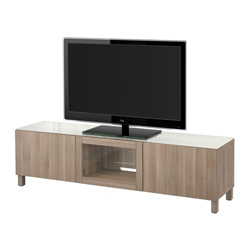 best banc tv avec portes lappviken mot noyer teint gris verre transp 180x40x38 cm. Black Bedroom Furniture Sets. Home Design Ideas