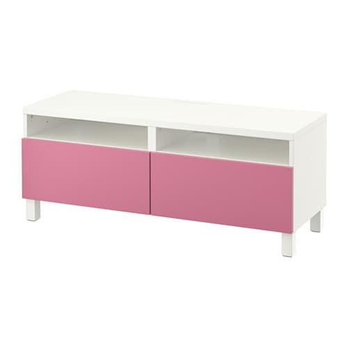 best banc tv avec tiroirs blanc lappviken rose. Black Bedroom Furniture Sets. Home Design Ideas