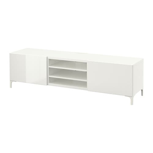 Best banc tv avec tiroirs blanc selsviken brillant for Ikea besta blanc