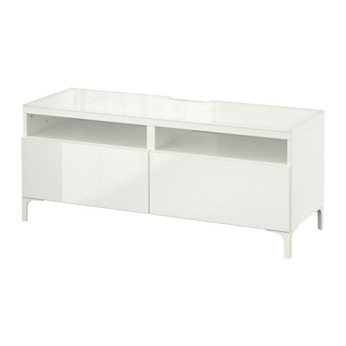 best banc tv avec tiroirs blanc selsviken brillant blanc glissi re tiroir ouv par pression. Black Bedroom Furniture Sets. Home Design Ideas