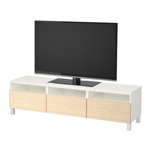 best banc tv avec tiroirs blanc inviken plaqu fr ne glissi re tiroir ouv par pression ikea. Black Bedroom Furniture Sets. Home Design Ideas