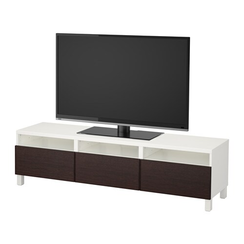 best banc tv avec tiroirs blanc inviken brun noir glissi re tiroir fermeture silence ikea. Black Bedroom Furniture Sets. Home Design Ideas
