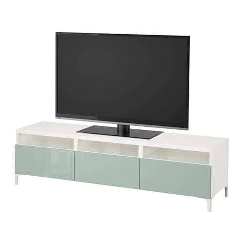 best banc tv avec tiroirs blanc selsviken brillant gris vert clair glissi re tiroir ouv par. Black Bedroom Furniture Sets. Home Design Ideas
