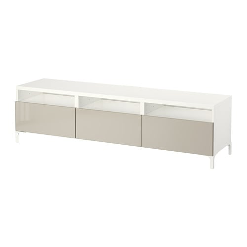 best banc tv avec tiroirs blanc selsviken brillant beige glissi re tiroir ouv par pression. Black Bedroom Furniture Sets. Home Design Ideas