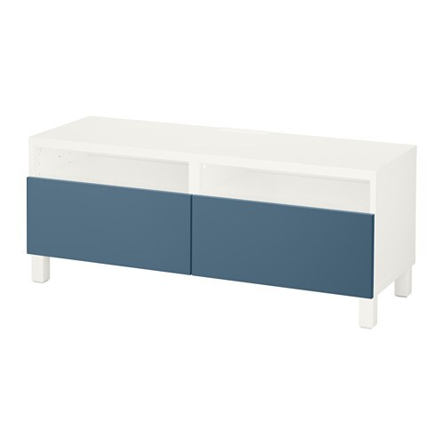 best banc tv avec tiroirs blanc valviken bleu fonc glissi re tiroir fermeture silence ikea. Black Bedroom Furniture Sets. Home Design Ideas