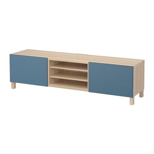 best banc tv avec tiroirs effet ch ne blanchi valviken bleu fonc glissi re tiroir ouv par. Black Bedroom Furniture Sets. Home Design Ideas