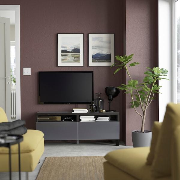 BESTÅ Banc TV avec tiroirs, brun noir/Riksviken/Stubbarp effet étain noir brossé, 120x42x48 cm