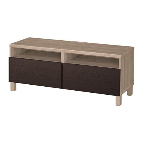 best banc tv avec tiroirs motif noyer teint gris inviken brun noir glissi re tiroir. Black Bedroom Furniture Sets. Home Design Ideas