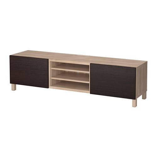 best banc tv avec tiroirs motif noyer teint gris inviken brun noir glissi re tiroir ouv. Black Bedroom Furniture Sets. Home Design Ideas