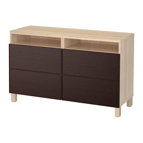 best banc tv avec tiroirs effet ch ne blanchi inviken brun noir glissi re tiroir ouv par. Black Bedroom Furniture Sets. Home Design Ideas