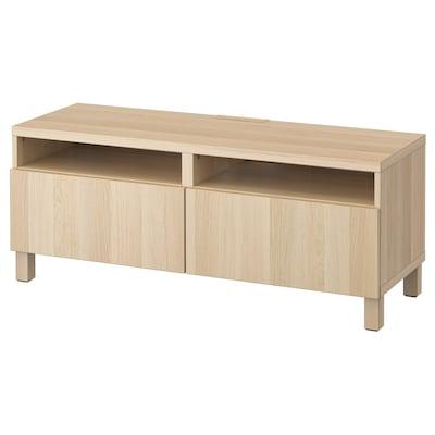 BESTÅ Banc TV avec tiroirs, effet chêne blanchi/Lappviken/Stubbarp effet chêne blanchi, 120x42x48 cm