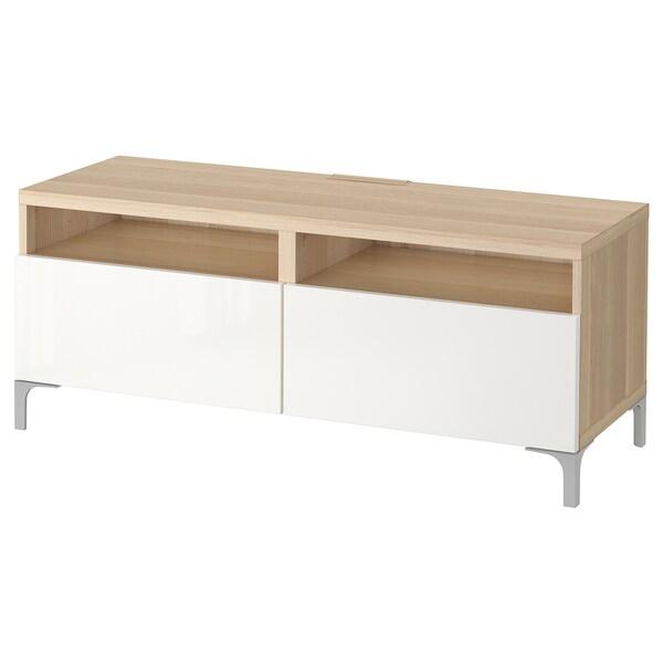 Besta Banc Tv Avec Tiroirs Effet Chene Blanc Hi Selsviken Brillant Blanc 120x42x48 Cm Ikea