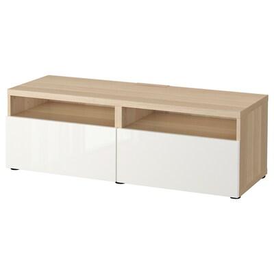 BESTÅ Banc TV avec tiroirs, effet chêne blanchi/Selsviken brillant/blanc, 120x42x39 cm
