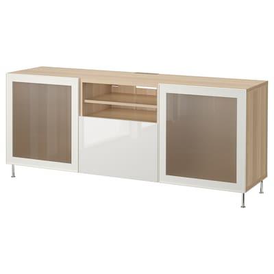 BESTÅ Banc TV avec tiroirs, effet chêne blanchi/Selsviken/Stallarp brillant/blanc verre givré, 180x42x74 cm