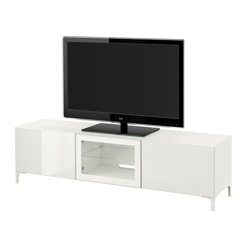 best banc tv avec tiroirs et porte blanc selsviken brillant blanc verre transparent. Black Bedroom Furniture Sets. Home Design Ideas