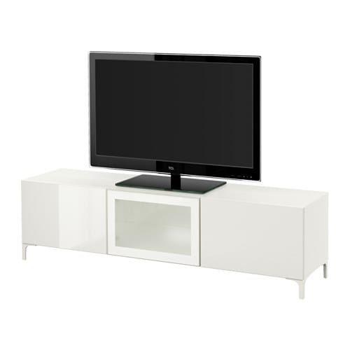 best banc tv avec tiroirs et porte blanc selsviken brillant blanc verre givr glissi re. Black Bedroom Furniture Sets. Home Design Ideas