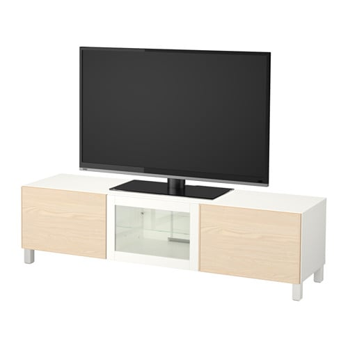 best banc tv avec tiroirs et porte blanc inviken plaqu fr ne glissi re tiroir fermeture. Black Bedroom Furniture Sets. Home Design Ideas
