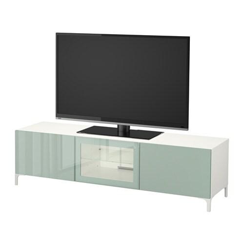 best banc tv avec tiroirs et porte blanc selsviken brillant gris vert clair verre transparent. Black Bedroom Furniture Sets. Home Design Ideas