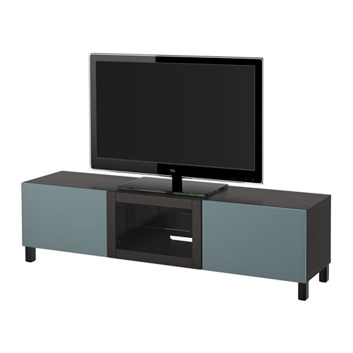 best banc tv avec tiroirs et porte brun noir valviken gris turquoise verre transparent. Black Bedroom Furniture Sets. Home Design Ideas