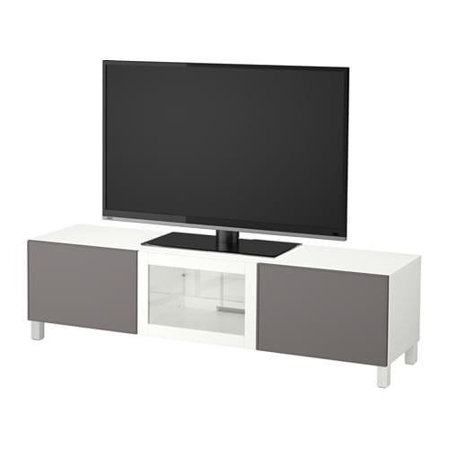 best banc tv avec tiroirs et porte blanc grundsviken gris fonc verre transparent glissi re. Black Bedroom Furniture Sets. Home Design Ideas