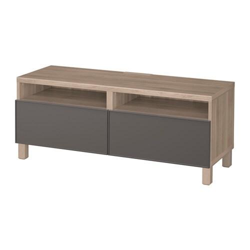 best banc tv avec tiroirs motif noyer teint gris grundsviken gris fonc glissi re tiroir. Black Bedroom Furniture Sets. Home Design Ideas