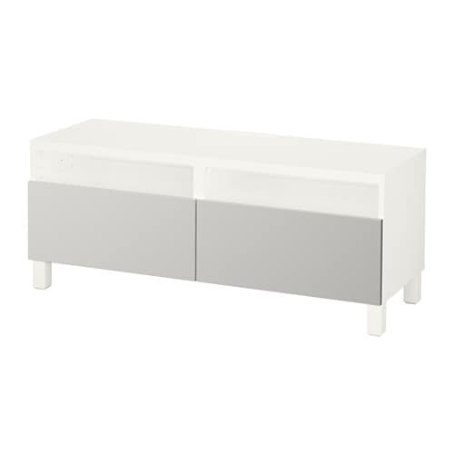 best banc tv avec tiroirs blanc lappviken gris clair glissi re tiroir ouv par pression ikea. Black Bedroom Furniture Sets. Home Design Ideas