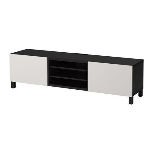 best banc tv avec tiroirs brun noir lappviken gris clair glissi re tiroir ouv par pression. Black Bedroom Furniture Sets. Home Design Ideas