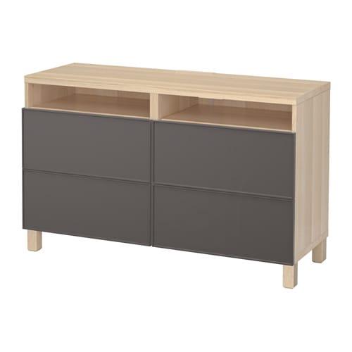 best banc tv avec tiroirs effet ch ne blanchi grundsviken gris fonc glissi re tiroir ouv. Black Bedroom Furniture Sets. Home Design Ideas