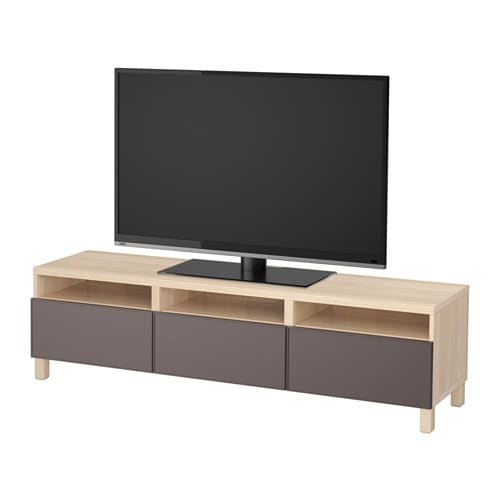 best banc tv avec tiroirs effet ch ne blanchi grundsviken gris fonc glissi re tiroir ouv. Black Bedroom Furniture Sets. Home Design Ideas
