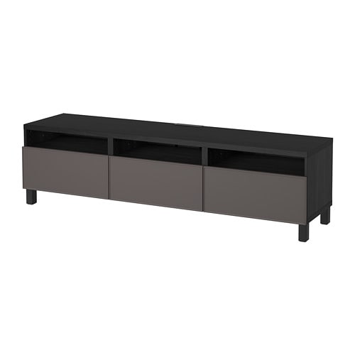 best banc tv avec tiroirs brun noir grundsviken gris fonc glissi re tiroir ouv par. Black Bedroom Furniture Sets. Home Design Ideas