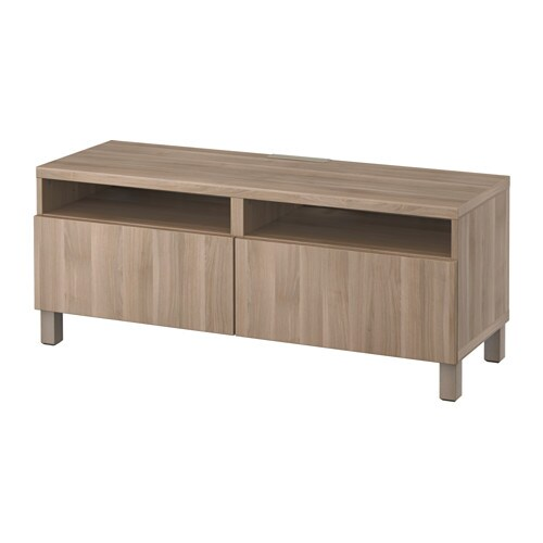 best banc tv avec tiroirs lappviken motif noyer teint gris glissi re tiroir ouv par. Black Bedroom Furniture Sets. Home Design Ideas