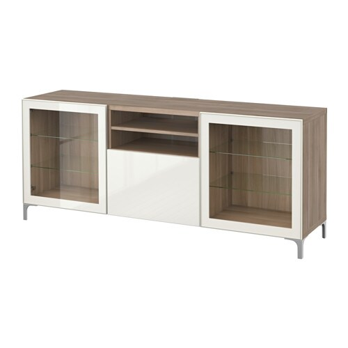 best banc tv avec tiroirs motif noyer teint gris selsviken brillant blanc verre transparent. Black Bedroom Furniture Sets. Home Design Ideas