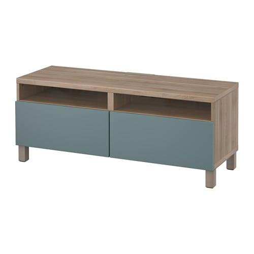 best banc tv avec tiroirs motif noyer teint gris valviken gris turquoise glissi re tiroir. Black Bedroom Furniture Sets. Home Design Ideas