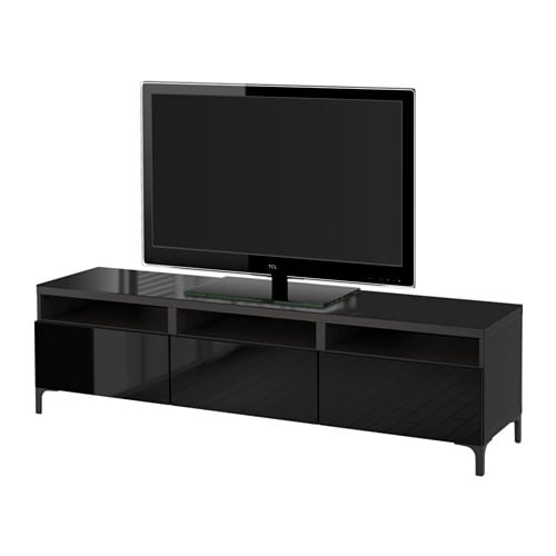 best banc tv avec tiroirs brun noir selsviken brillant noir glissi re tiroir ouv par. Black Bedroom Furniture Sets. Home Design Ideas
