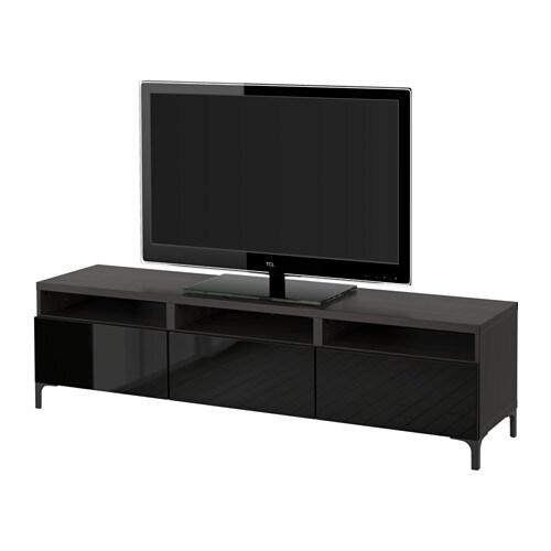 Banc Tv Ikea Noir : BestÅ Banc Tv Avec Tiroirs – Brun Noirselsviken Brillantnoir