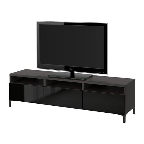 BESTÅ Banc TV avec tiroirs - brun noir/Selsviken brillant ...