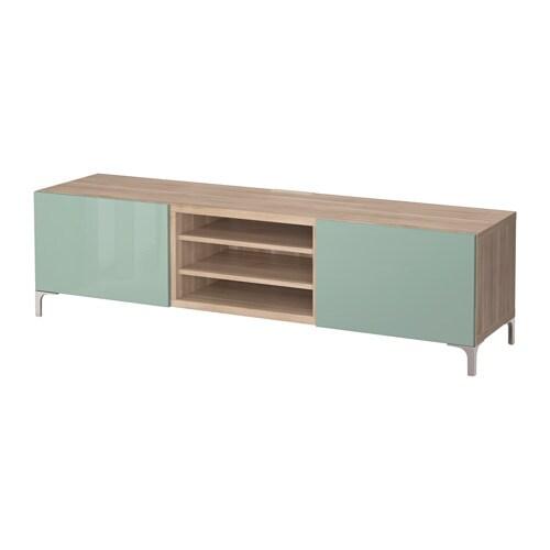 best banc tv avec tiroirs motif noyer teint gris selsviken brillant gris vert clair. Black Bedroom Furniture Sets. Home Design Ideas