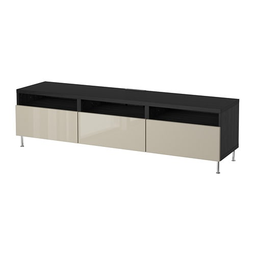 best banc tv avec tiroirs brun noir selsviken stallarp brillant beige glissi re tiroir ouv. Black Bedroom Furniture Sets. Home Design Ideas