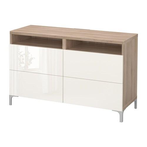 best banc tv avec tiroirs motif noyer teint gris selsviken brillant blanc glissi re tiroir. Black Bedroom Furniture Sets. Home Design Ideas